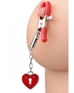 Captive Heart Padlock Nipple Clamps - AE203