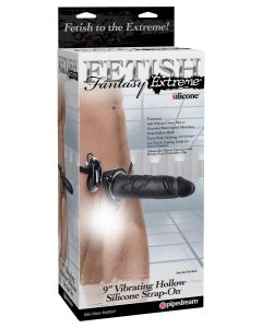 "Fetish Fantasy Extreme 9"" Vibrating Hollow Silicone Strap-On - 3780-23"