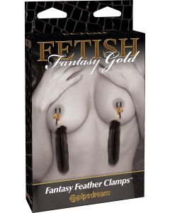 Fetish Fantasy Gold Feather Nipple Clamps - 3997-23